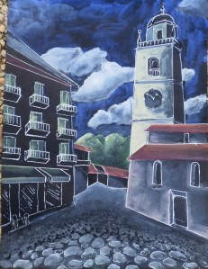 Belaggio Church, Gouache